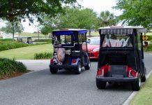 Strayed car on golf cart path